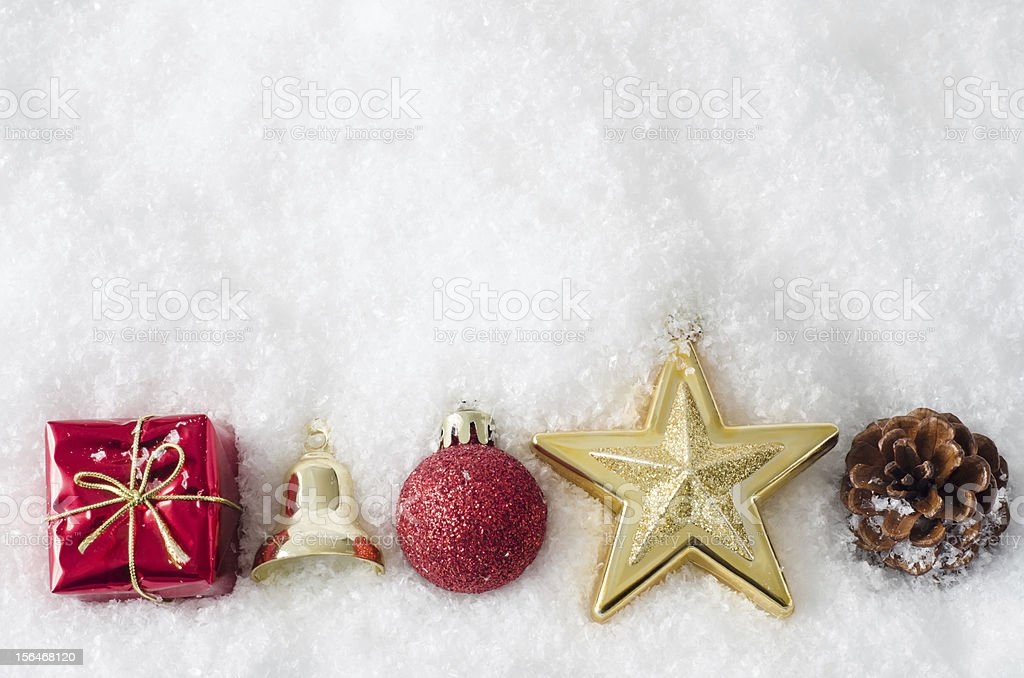 Christmas Ornament Border on Snow royalty-free stock photo