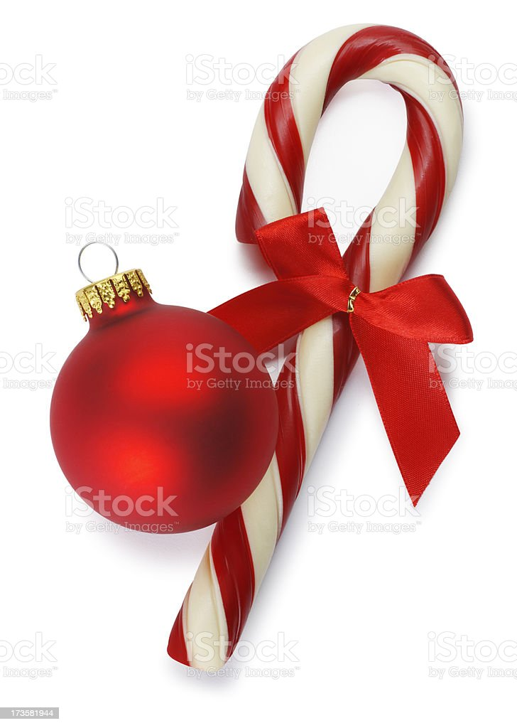 Christmas Ornament & Candy Cane royalty-free stock photo