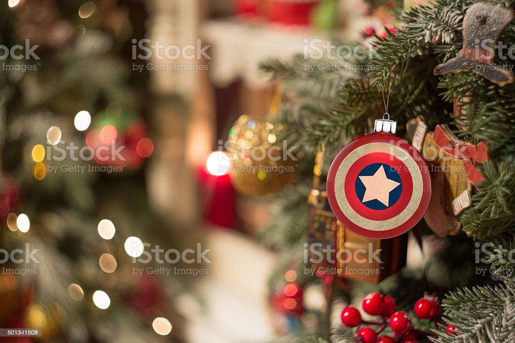 Christmas ornament captain America stock photo