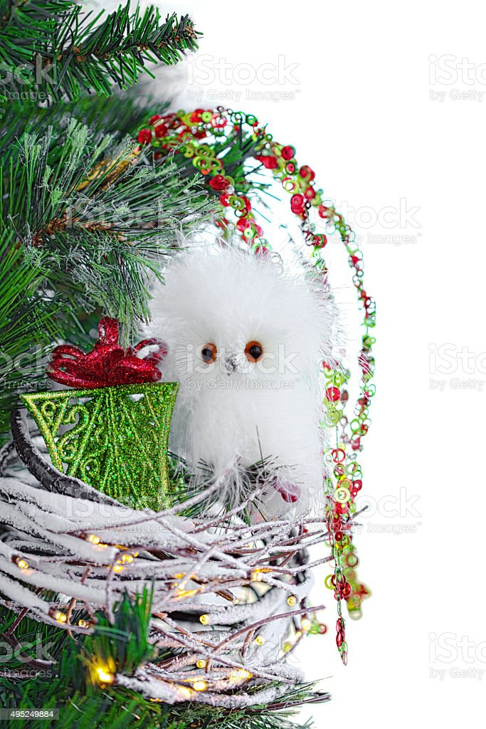 Christmas Ornament Cute Baby Owl Nest Lights Vintage Rustic royalty-free stock photo