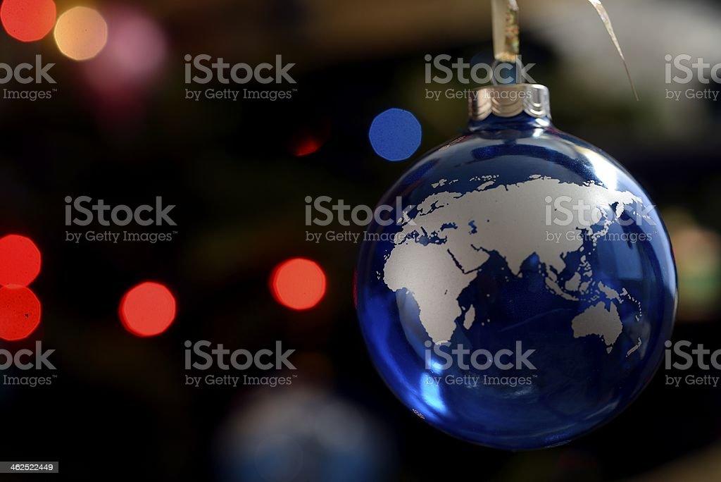 Christmas Ornament depicting Eastern Hemisphere stock photo