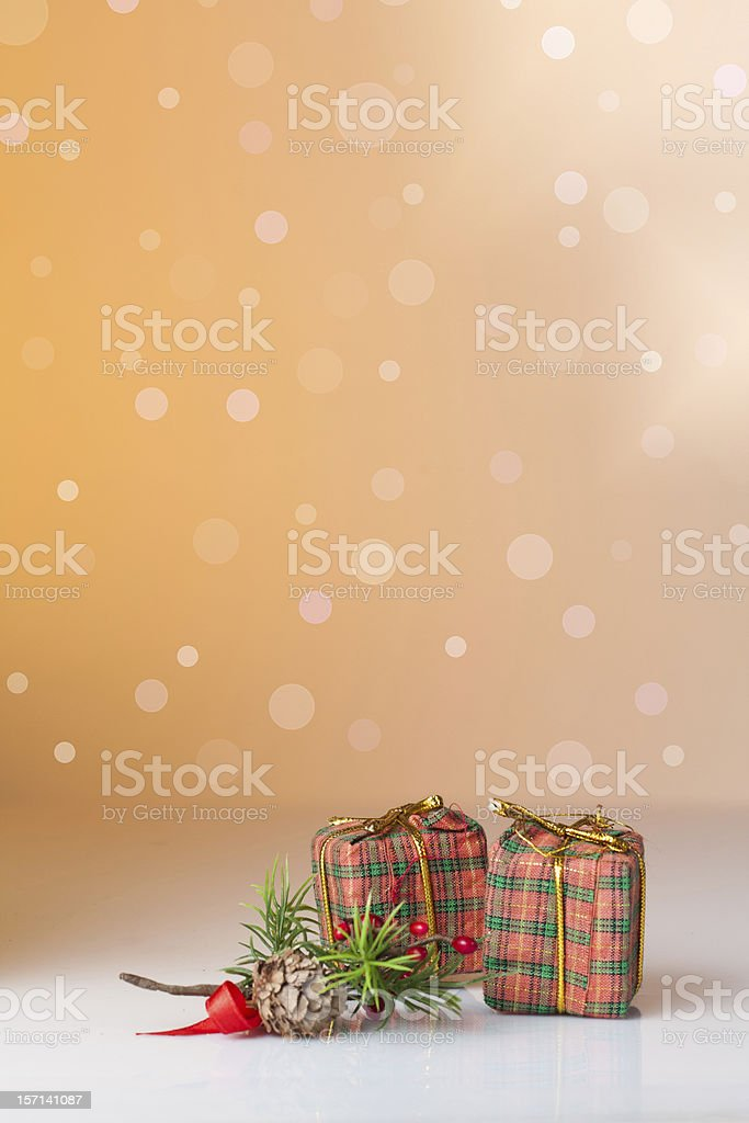 Christmas ornament: gifts in colorful wrapping with go royalty-free stock photo