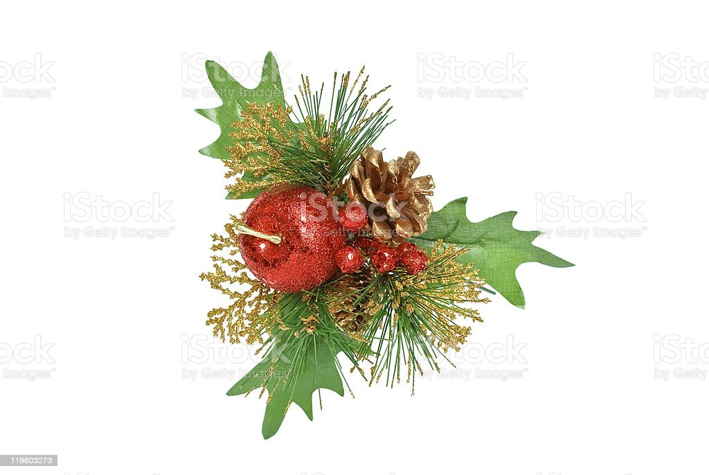 Christmas ornament - green pine branch, red apple and cone royalty-free stock photo