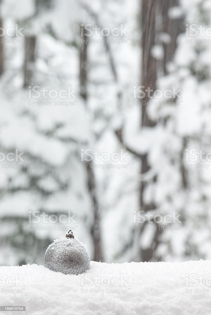 Christmas Ornament In A Snow Storm stock photo