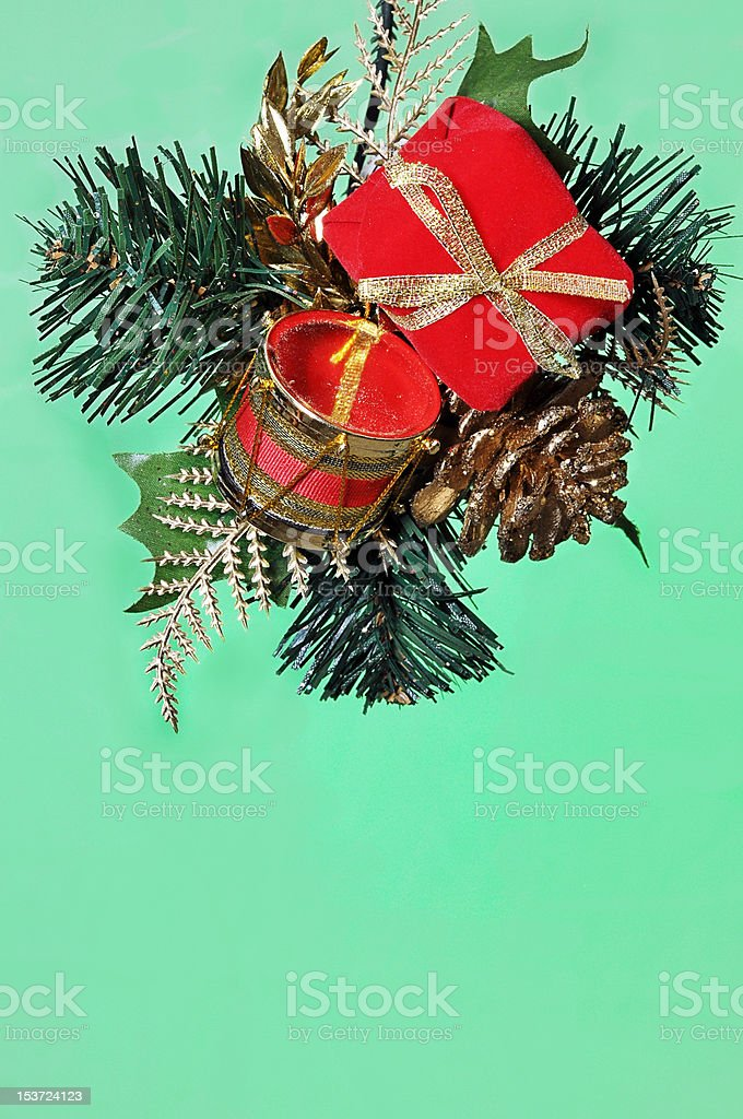 Christmas Ornament Isolated on Green stock photo