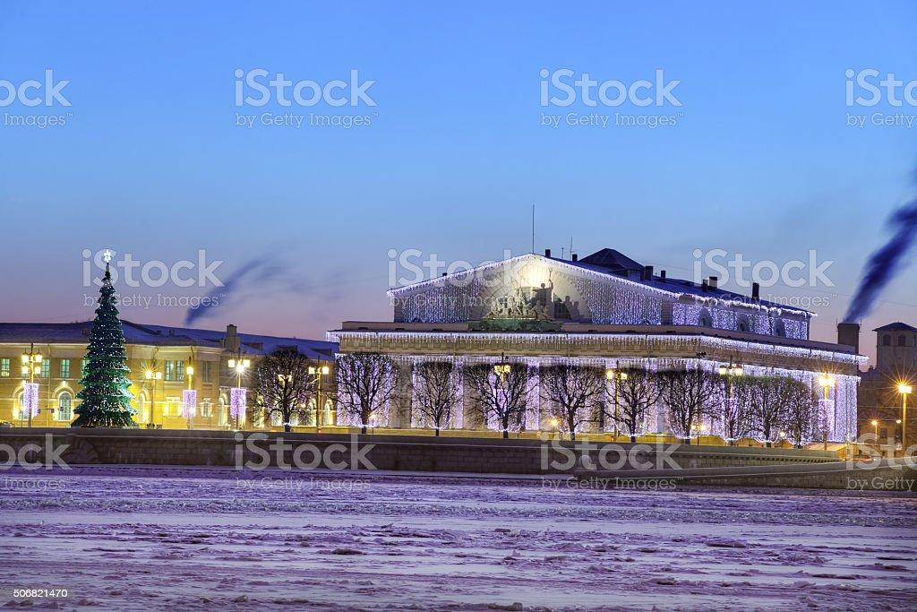 Christmas ornament old stock exchange building, Saint-Petersburg, Russia, winter evening. stock photo
