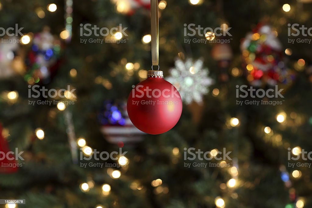Christmas Ornament on Tree stock photo