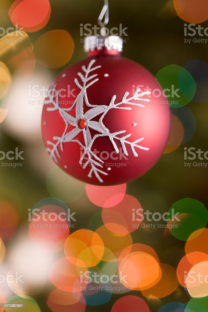 Christmas Ornament, Red with Snowflake, Tree Lights, Copy Space royalty-free stock photo