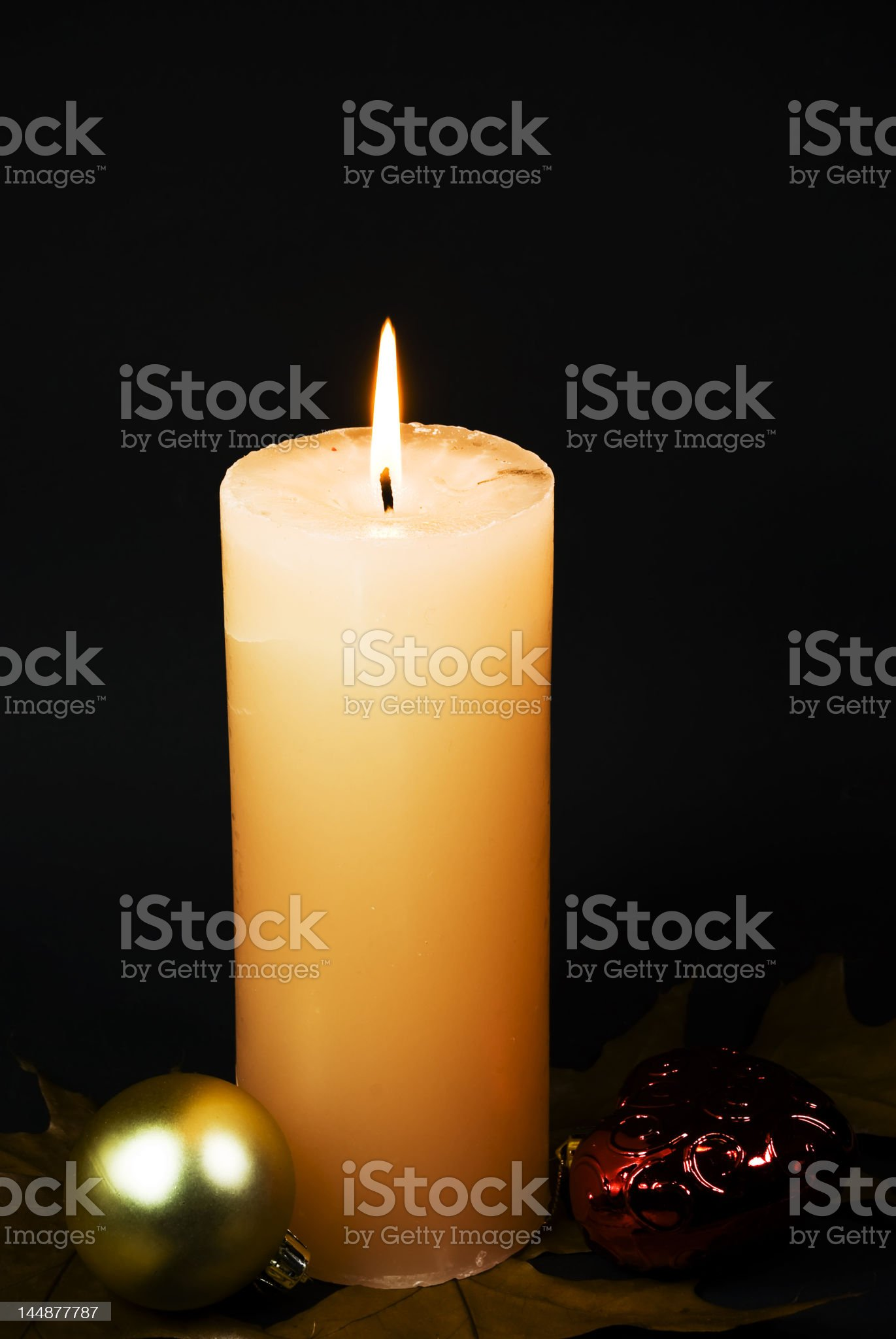 christmas ornament with burning candle royalty-free stock photo