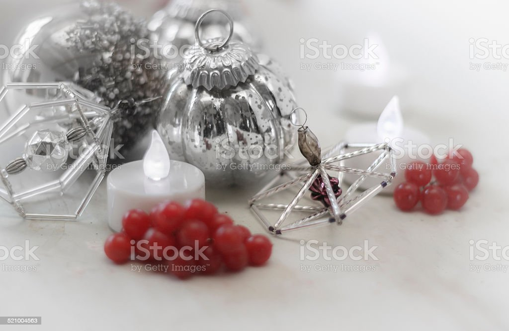 Christmas ornament with candle in romantic light stock photo