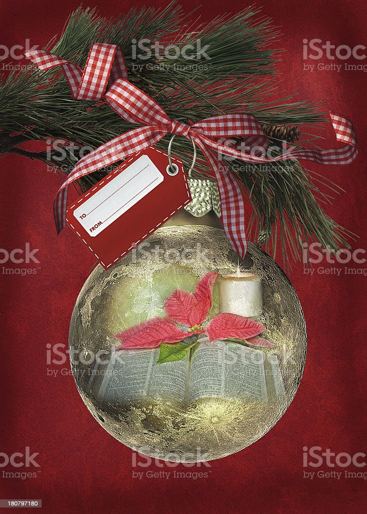 Christmas ornament with gingham bow royalty-free stock photo