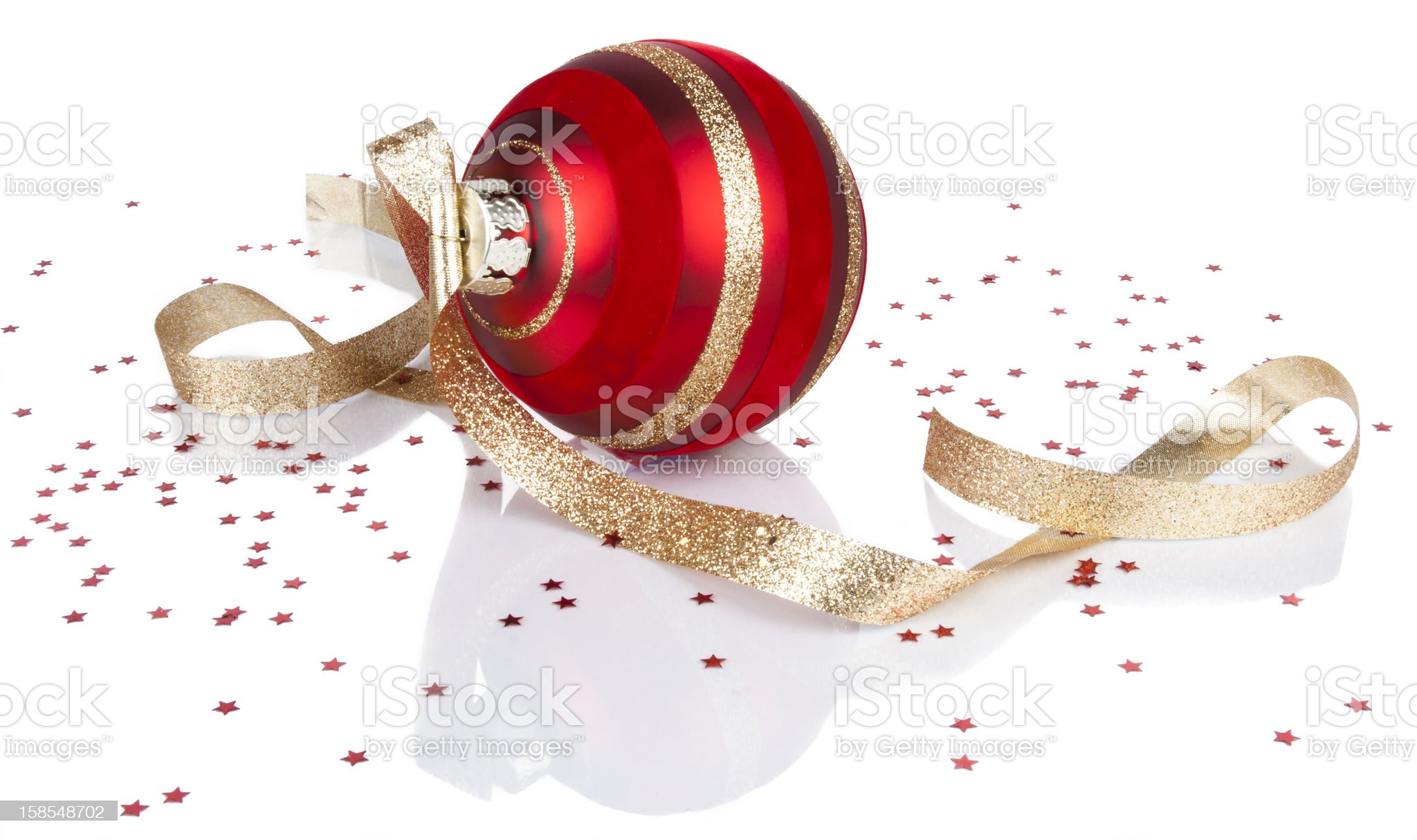 Christmas ornament with reflection isolated on white royalty-free stock photo