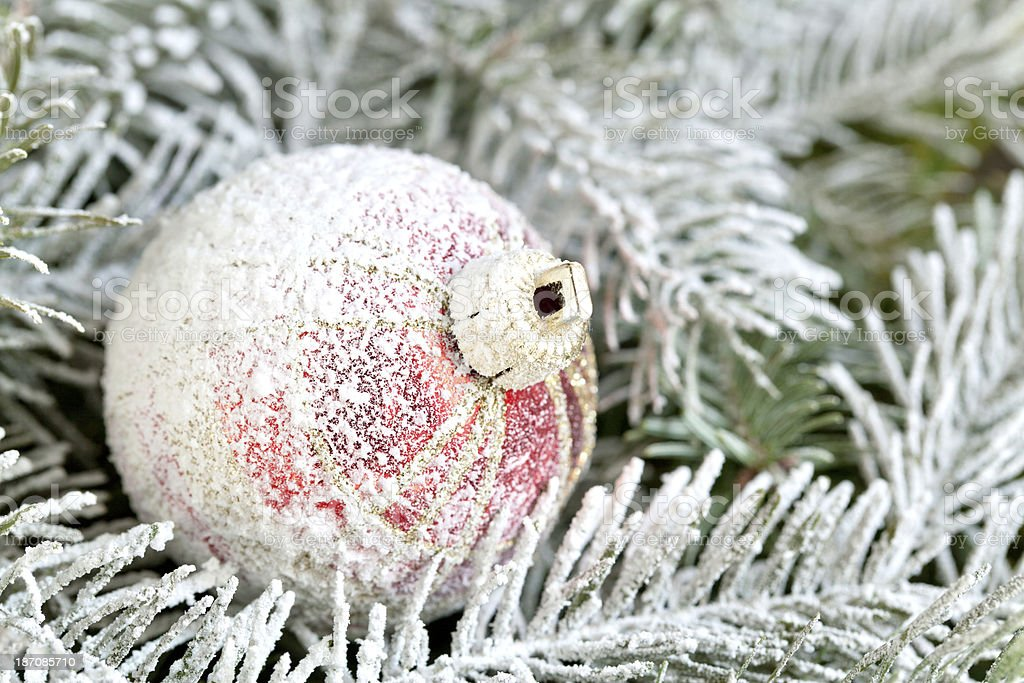 Christmas ornament with snow royalty-free stock photo