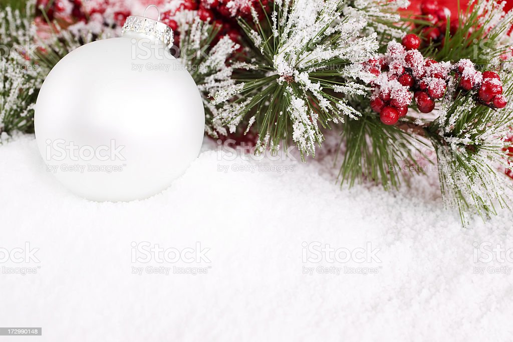 Christmas Ornament with Snowy Holly, Copy Space royalty-free stock photo