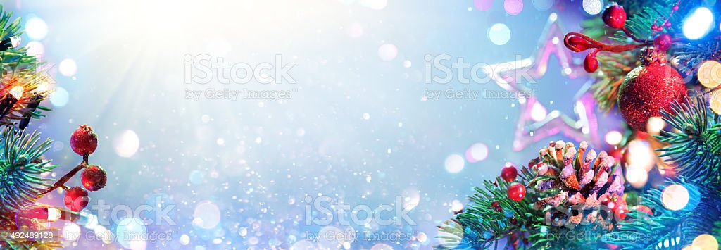 Christmas Ornament With Sparkling Of Lights stock photo