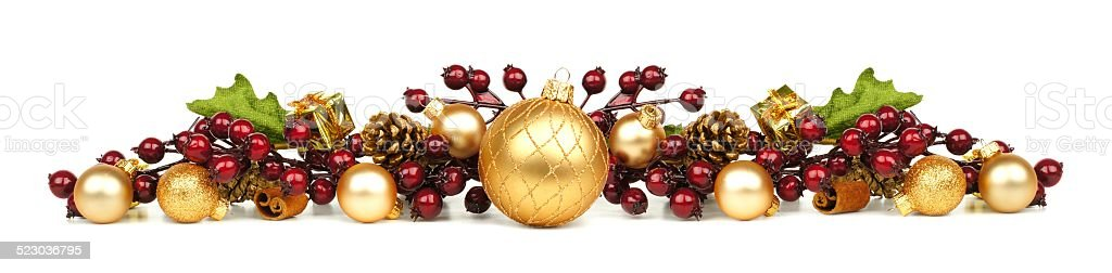 Christmas ornaments and branches border stock photo