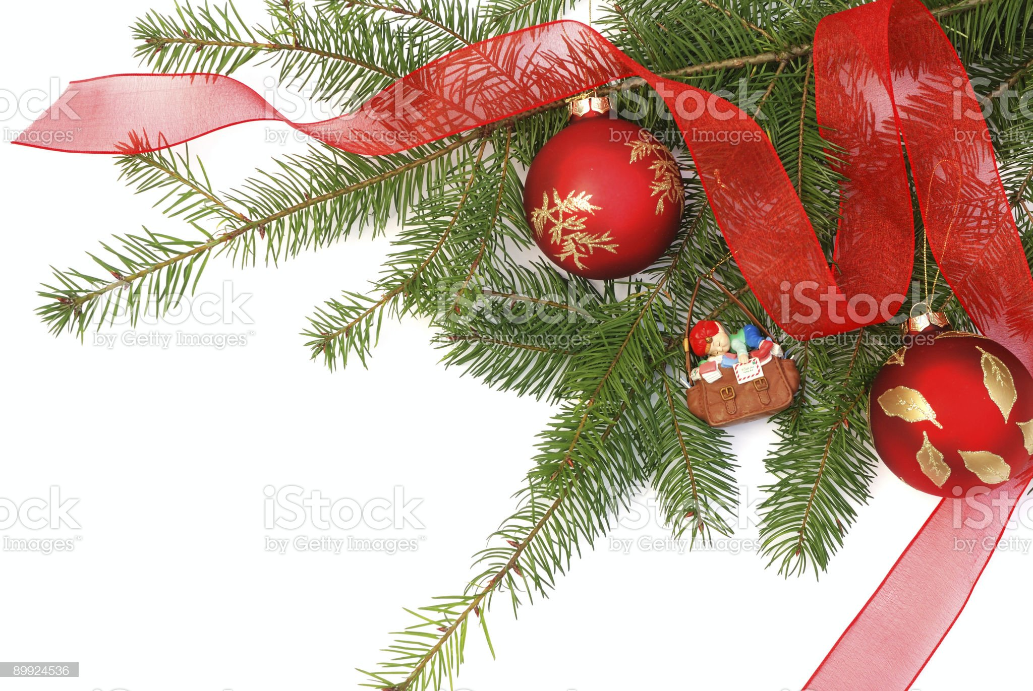 christmas ornaments and pine tree branches royalty-free stock photo