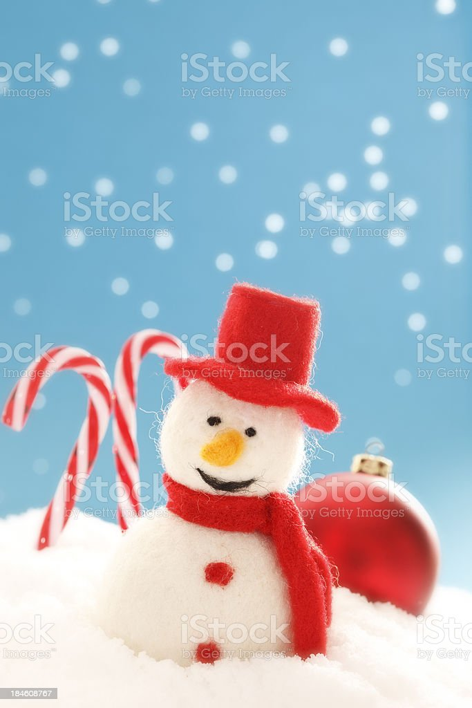 Christmas ornaments and snowman royalty-free stock photo
