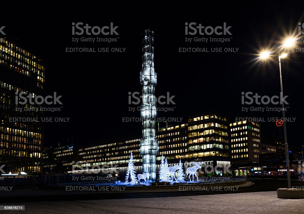 Christmas Ornaments at Sergels torg stock photo