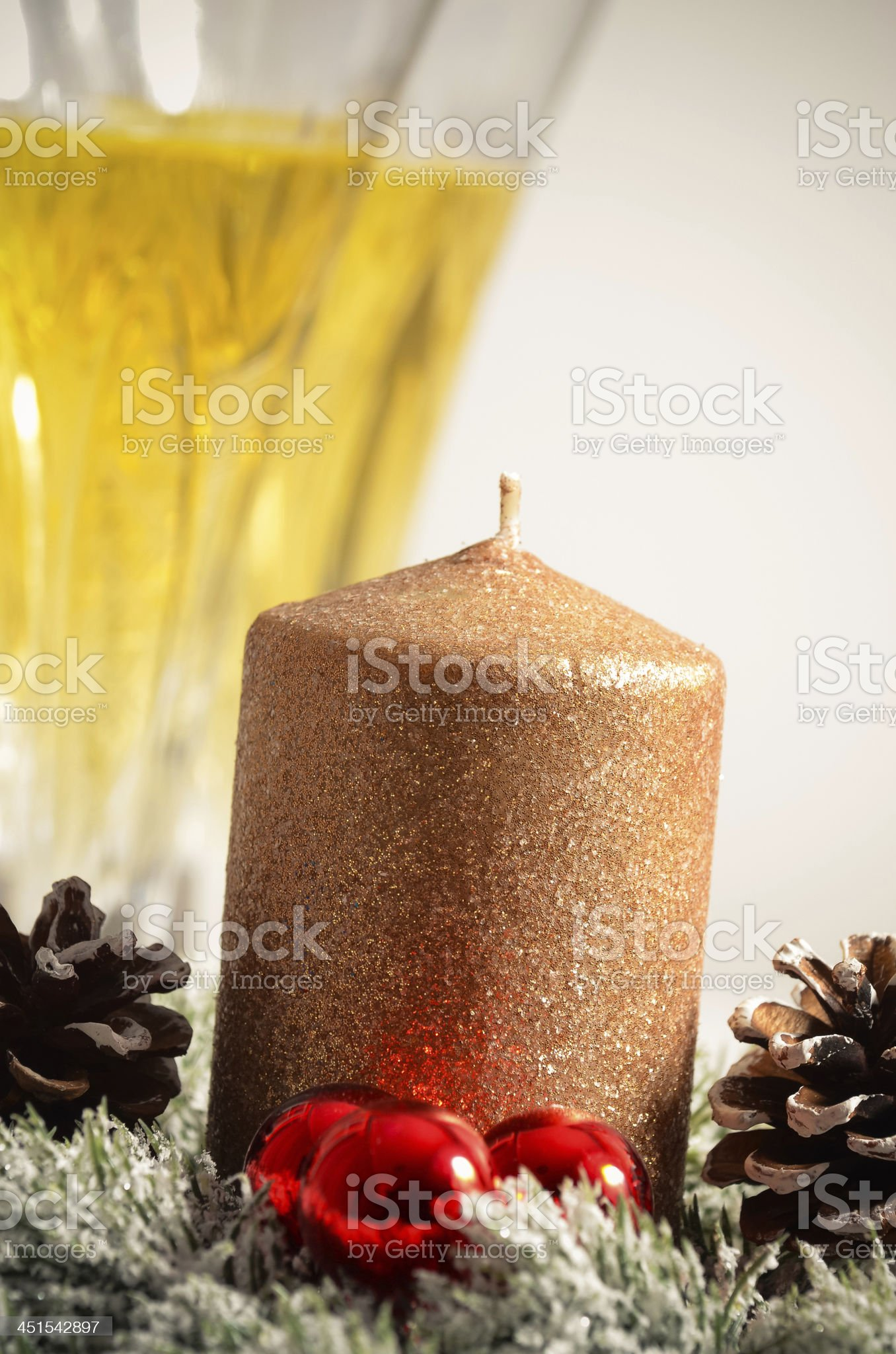 Christmas ornaments, Christmas decoration with baubles, lights and gifts royalty-free stock photo