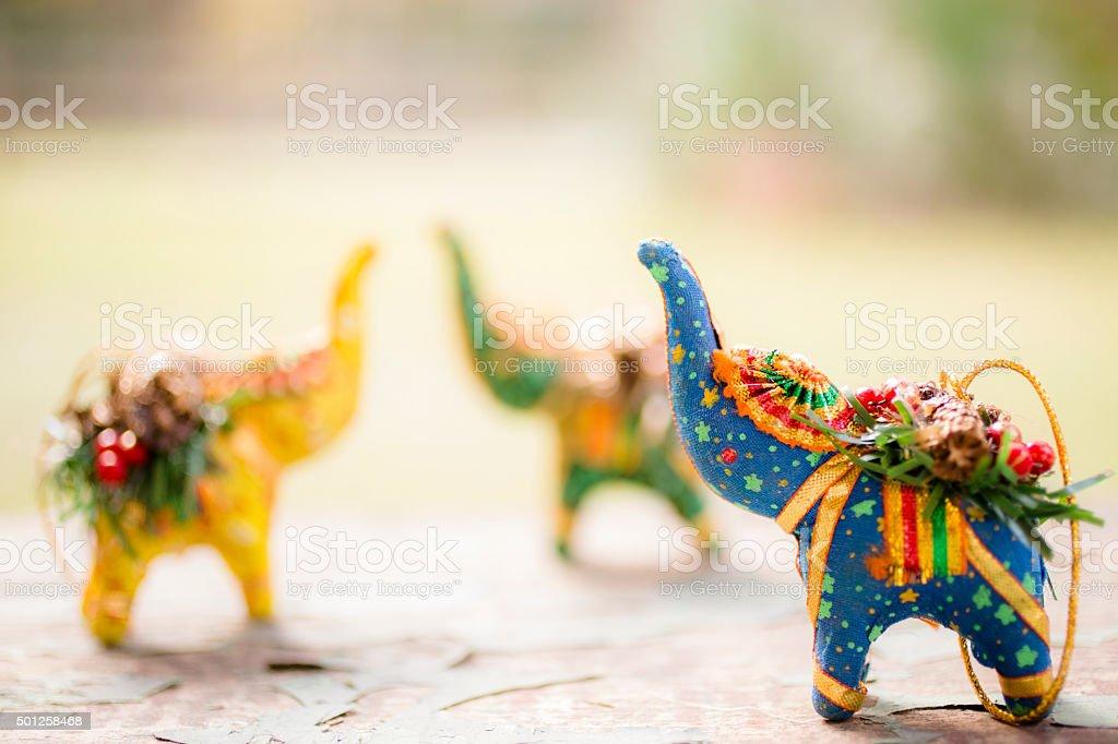 Christmas ornaments. Handmade from India. Happy Holidays! stock photo