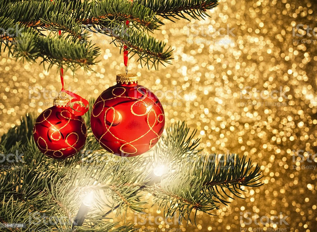 Christmas Ornaments Hanging on Tree royalty-free stock photo