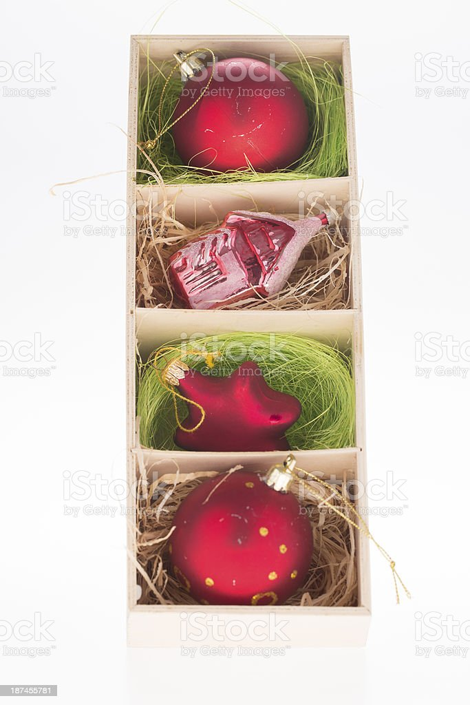christmas ornaments in box royalty-free stock photo