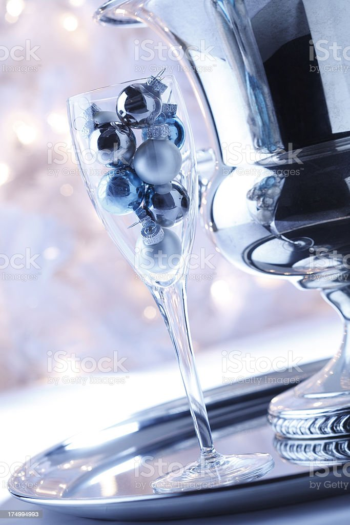 Christmas Ornaments In Champagne Glass royalty-free stock photo