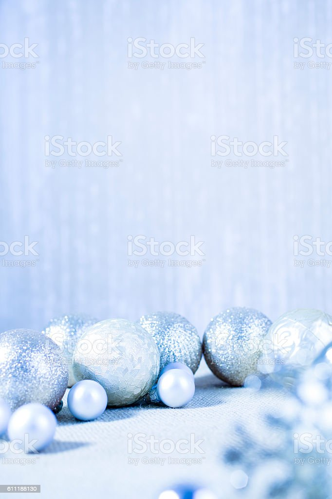 Christmas ornaments in silver and blue hues. stock photo