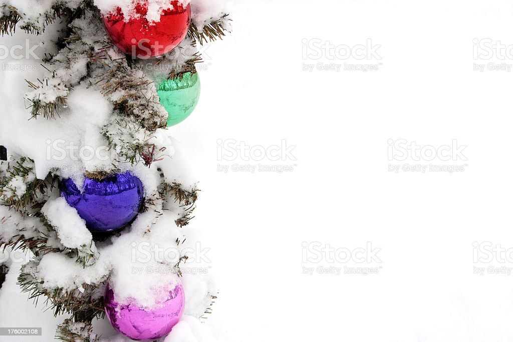 Christmas Ornaments in snow (2) royalty-free stock photo