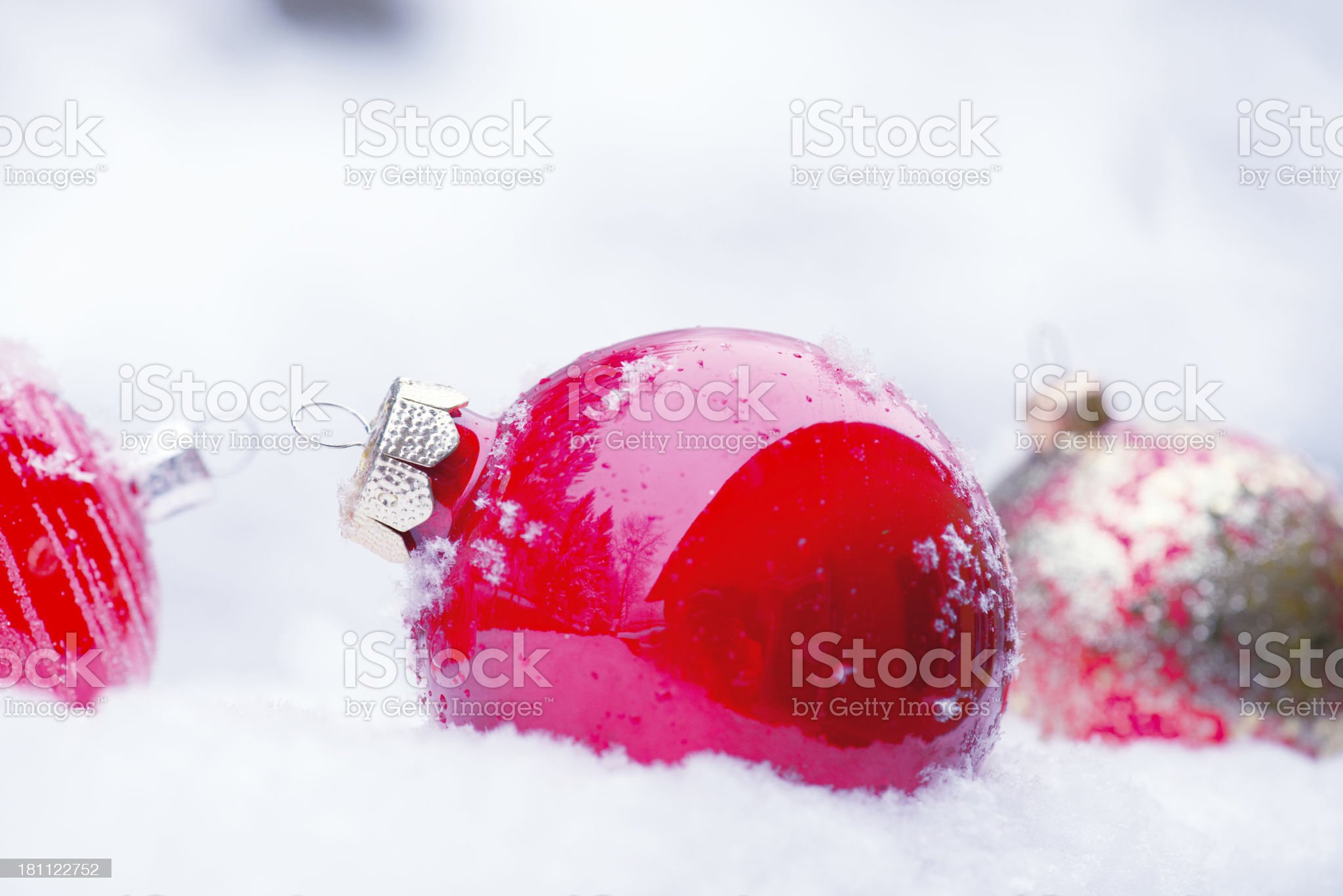 Christmas Ornaments in the Snow royalty-free stock photo