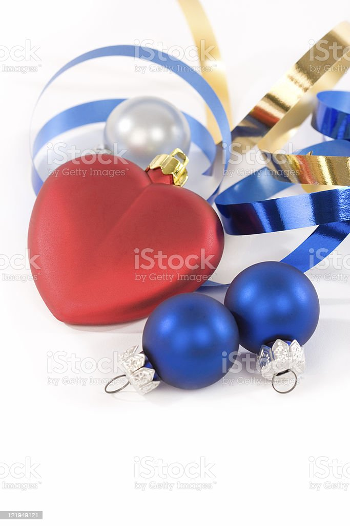 Christmas ornaments isolated on white stock photo
