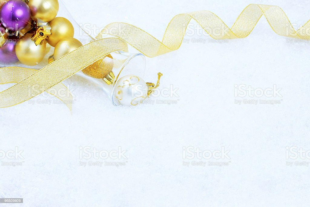Christmas ornaments on a snow stock photo