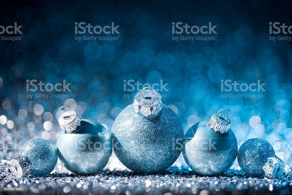 Christmas ornaments on defocused lights. Decorations Bokeh Blue stock photo
