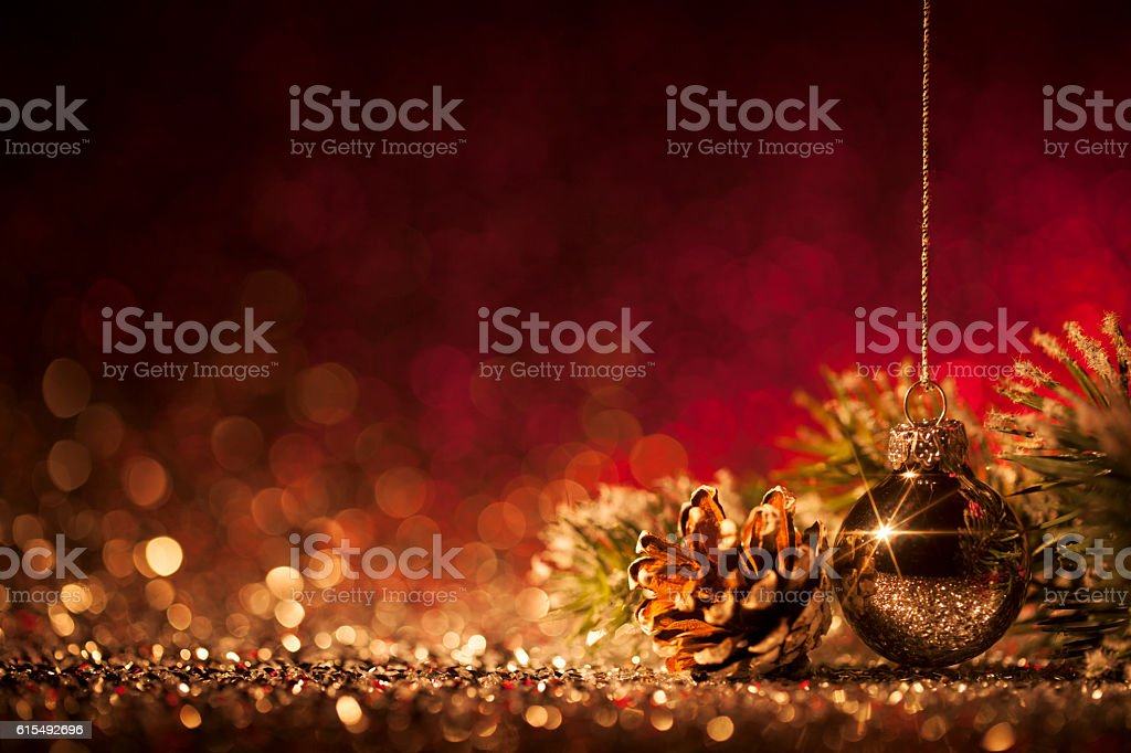 Christmas ornaments on defocused lights. Decorations Bokeh Red Gold stock photo