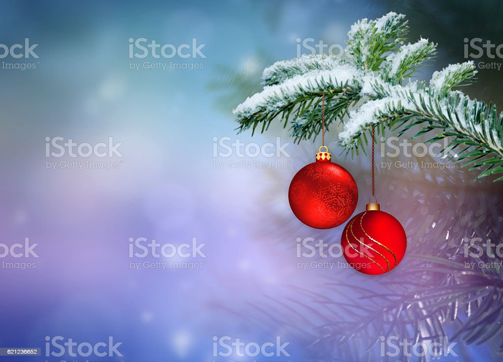 Christmas ornaments on the Christmas tree. stock photo