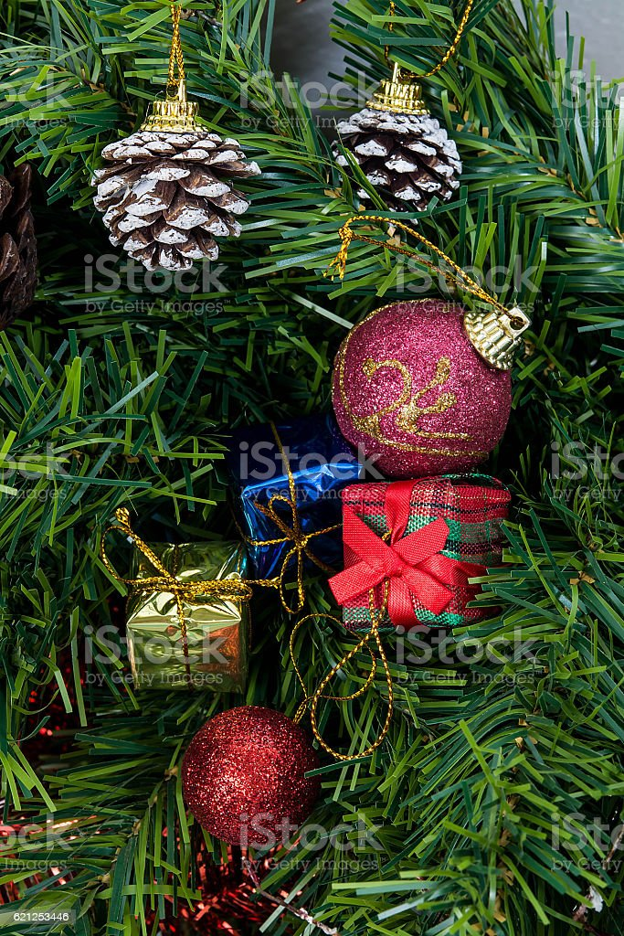 Christmas ornaments on the Christmas tree stock photo