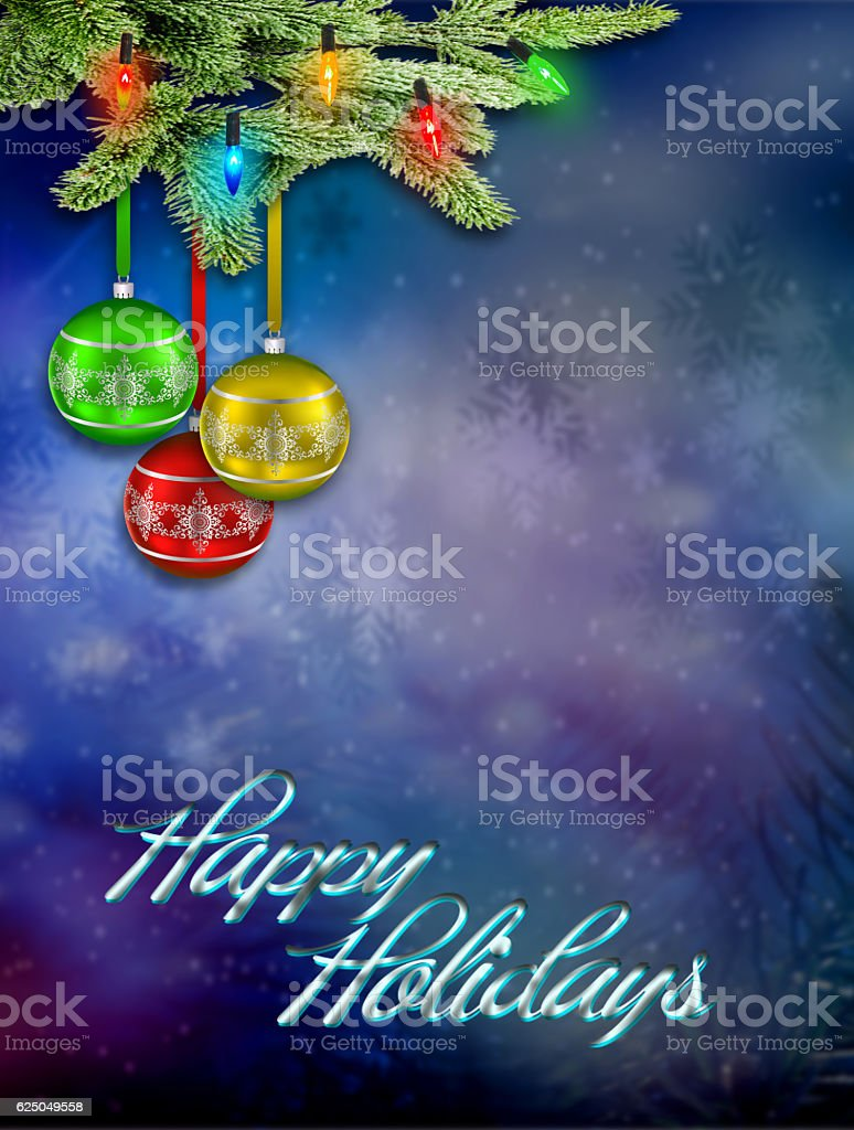 Christmas ornaments on the Christmas tree stock photo