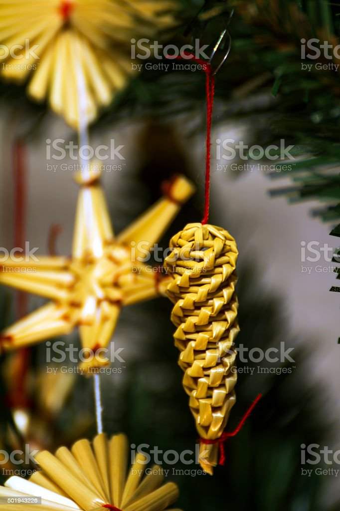Christmas ornaments on the tree stock photo