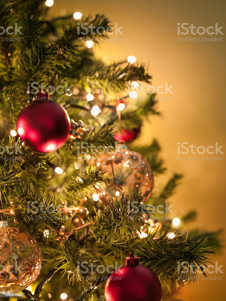 Christmas ornaments on tree stock photo