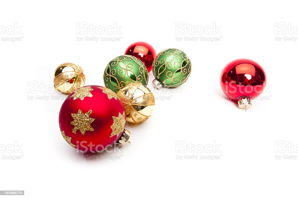 Christmas ornaments on white royalty-free stock photo