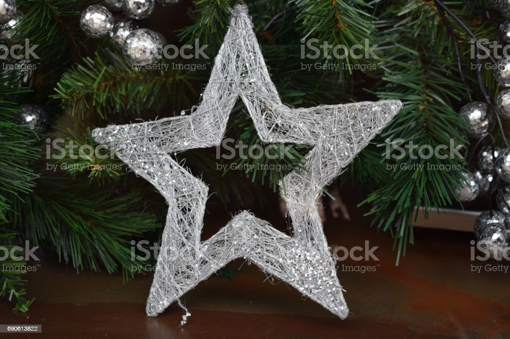 Christmas ornaments. Silver stars. stock photo