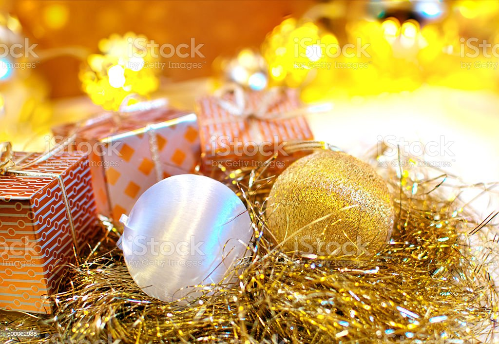 christmas ornaments with bokeh background stock photo