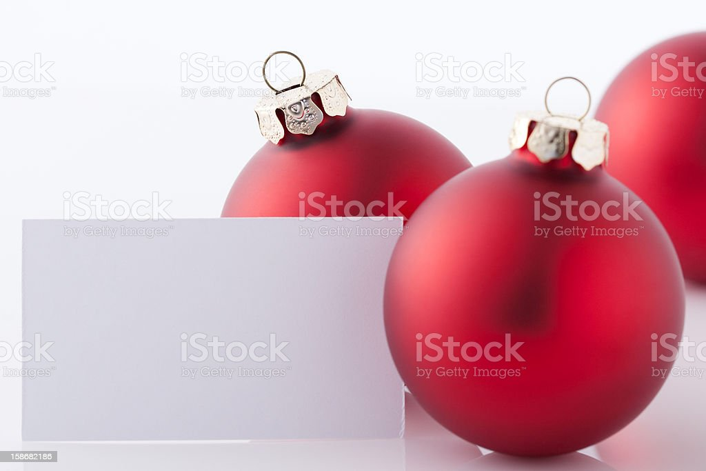 Christmas Ornaments with card has space for text royalty-free stock photo