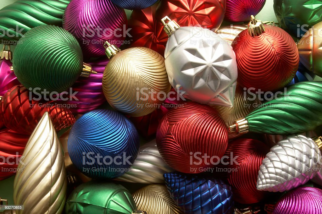 Christmas ornaments with many colors and swirls royalty-free stock photo