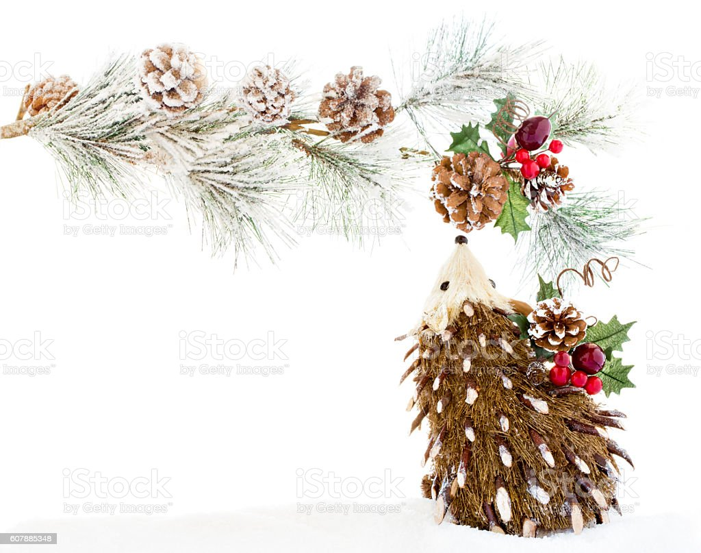 Christmas Ornaments Wood Hedgehog Decoration Vintage Rustic royalty-free stock photo