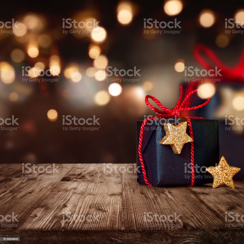 Christmas package with festive Background stock photo