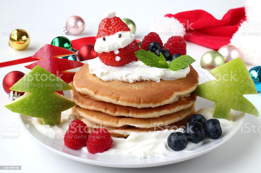 Christmas pancake kids breakfast stock photo