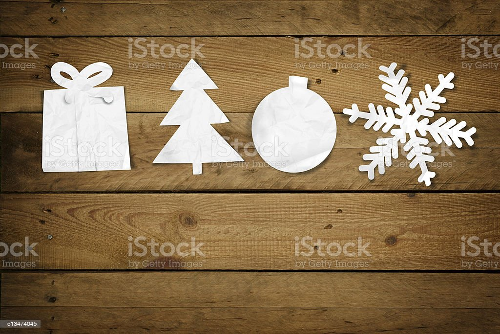 Christmas Paper Ornaments, on Wood stock photo