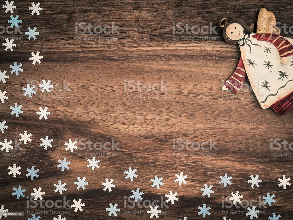 Christmas, paper snowflakes, angel, background wood, copy space stock photo